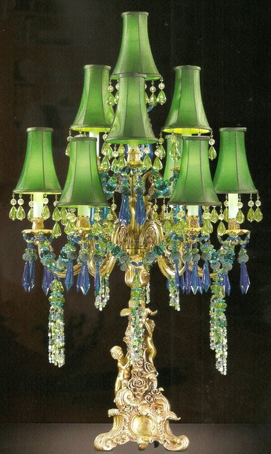 Unique Bronze Brass Figural 7 Light Candelabra Table Lamp With
