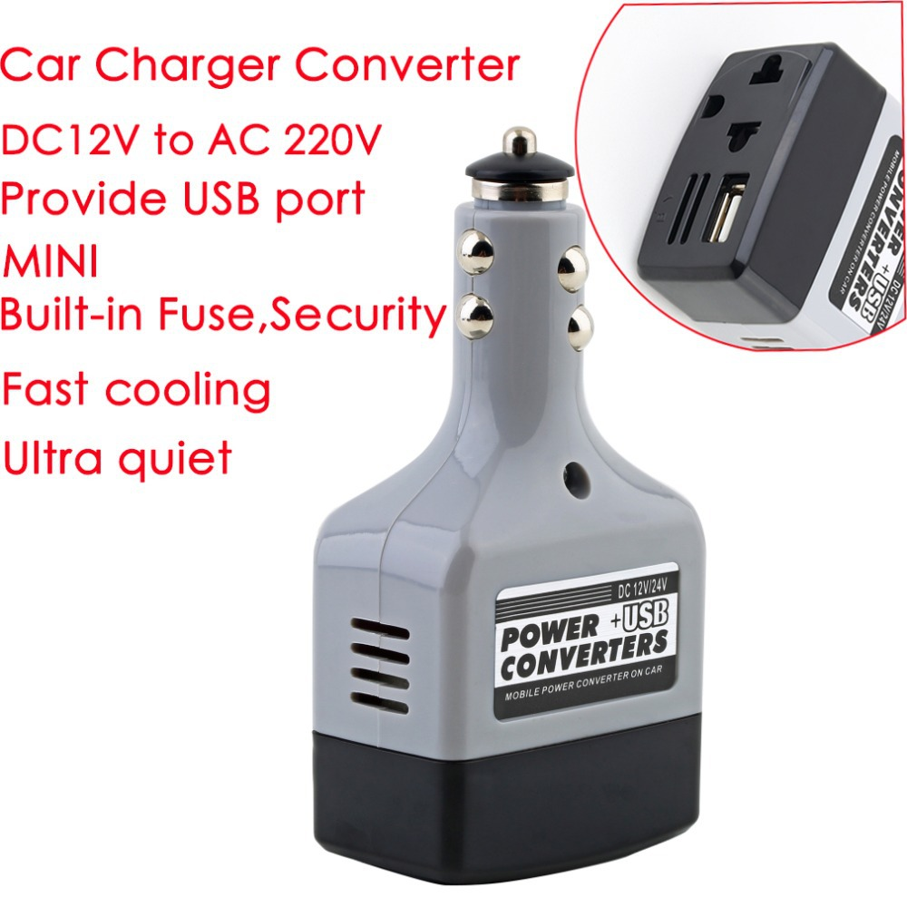 Car Mobile Power Inverter Adapter DC 12 24V to AC 220V USB 6V Auto Car Power