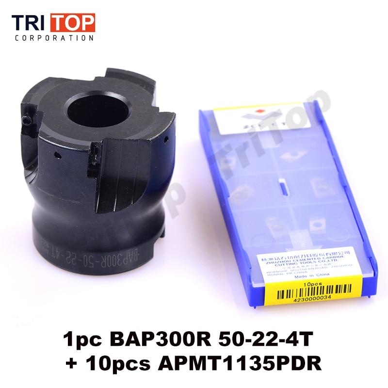 BAP JAP 300R-50-22-4T Milling tool with 10pcs carbide milling insert APMT1135PDR Face Mill Shoulder Cutter BAP 300R 50-22-4T precision m16 bt40 400r 63 22 face endmill and 10pcs apmt1604 carbide insert new