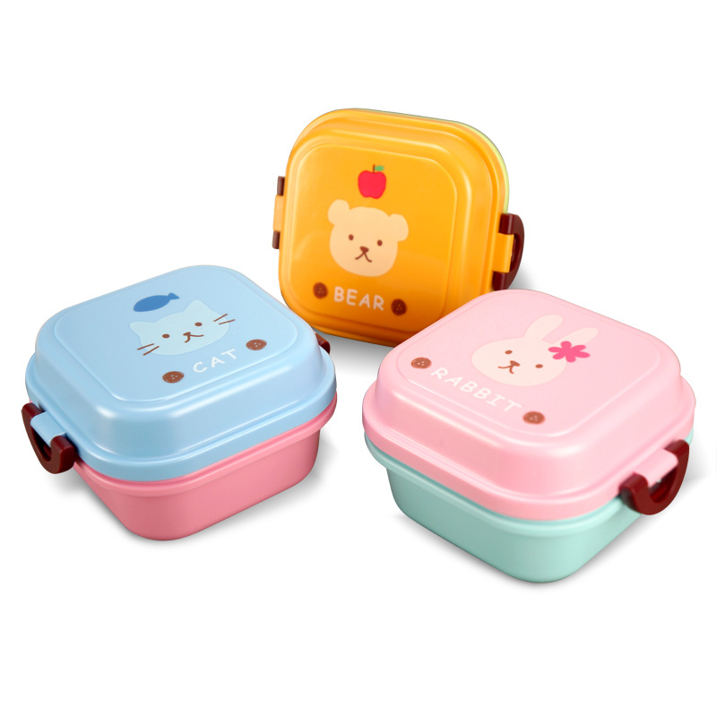 Cute Healthy Plastic Double Layer Lunch Box Cartoon Kids Bento Boxes Food Container Children Lunchbox BPA Free|Lunch Boxes| |  - title=