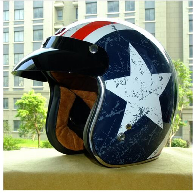 ФОТО free shipping CASCO CAPACETES TORC Motorcycle helmet retro 3/4 open face vintage helmet DOT rebel star half face helmets