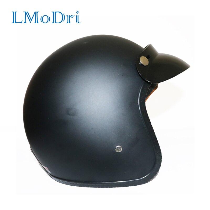 LMoDri casque Moto cuir synthétique rétro Vintage Cruiser Chopper Scooter café Racer Moto casque 3/4 Face ouverte casque