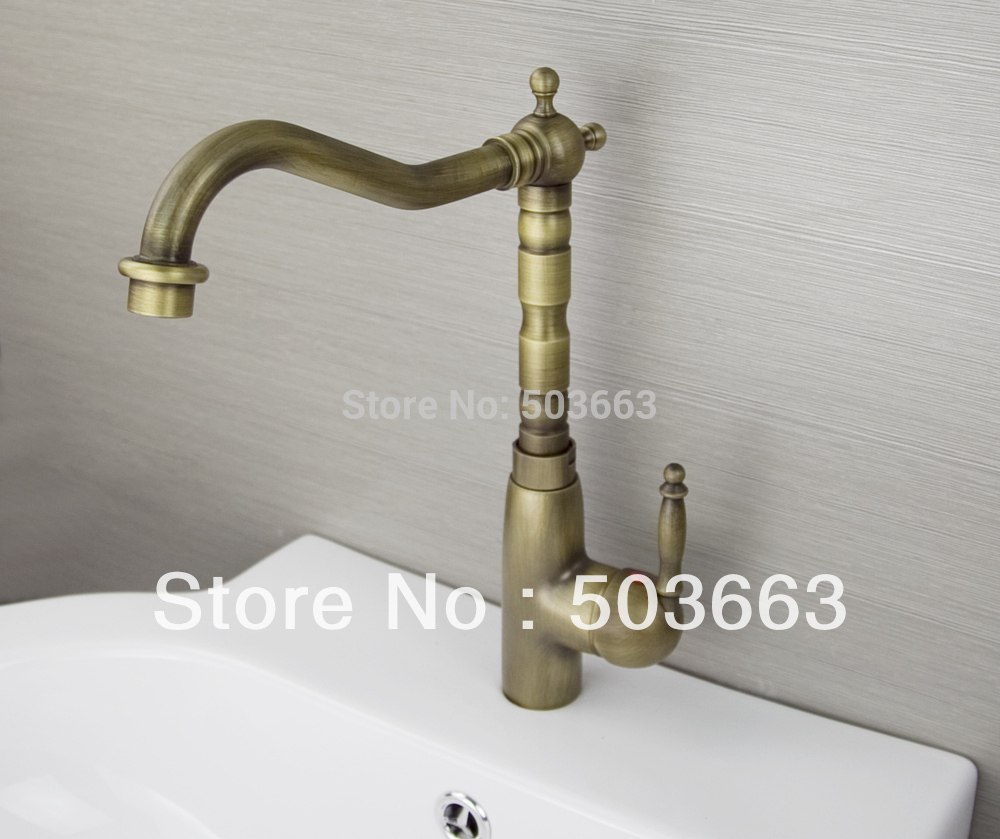 Elegant Single Handle Antique brass Finish Kitchen Sink Swivel Faucet Mixer Taps Vanity Brass Faucet L-9022 Mixer Tap Faucet antique brass kitchen faucet bronze finish water tap kitchen swivel spout vanity sink mixer tap single handle free shipping 6020