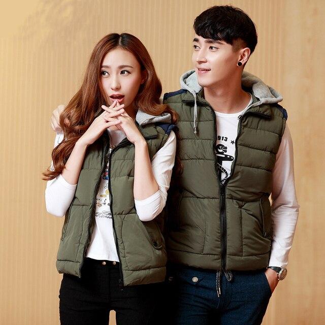 2016 New Winter Men Warm Thick Vest XXXL Casual Sportswear Korean Hooded Vest Cotton Sleeveless Jacket Men Brand 5 Colors
