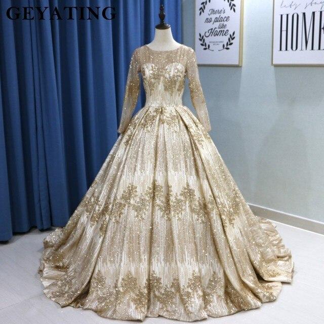 נוצץ זהב פאייטים נסיכת כדור שמלת חתונת שמלות 2020 דובאי ארוך שרוול מחוך ערבית חתונה שמלה עם 3M רעלות