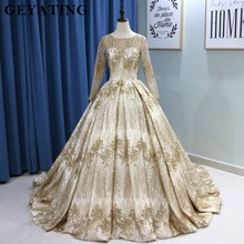 Sparkly Gold Sequins Princess Ball Gown Muslim Wedding Dresses 2020 Dubai Long Sleeve Corset Arabic Wedding Dress With 3M Veils