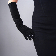Suede Gloves Leather Long Section 44cm Sheepskin Frosted Frizzled Feather Thin Velvet Lined Coffee Dark Brown Straight TB67 hestra deerskin winter lined dark brown