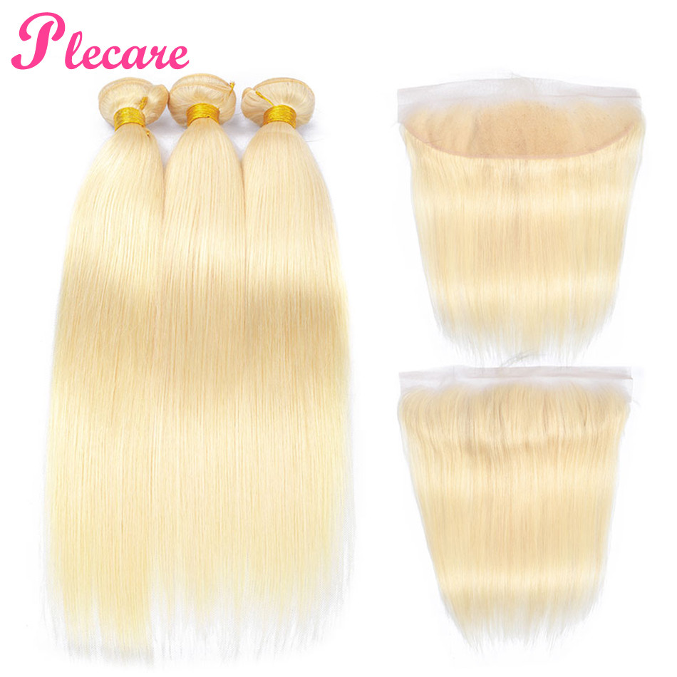 Discreet Plecare Malaysian Straight 100% Human Hair Weave 3&4 Bundles With 13*4 Lace Frontal Closure 613 Blonde Non-remy Hair Extensions Discounts Price Hair Extensions & Wigs 3/4 Bundles With Closure