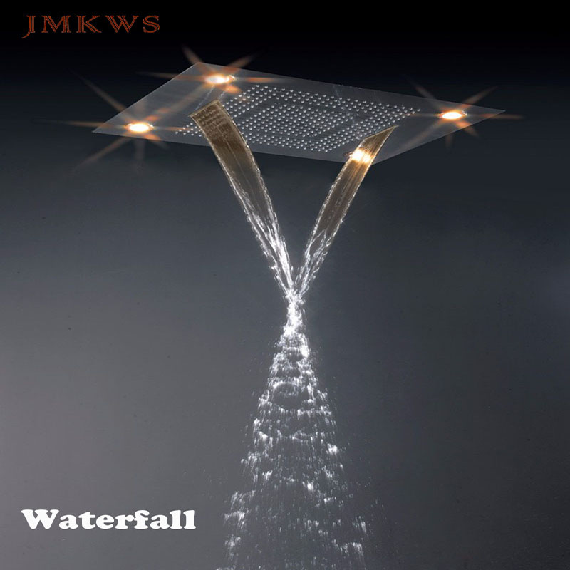 Luxury Big LED Shower Head 800*600 Rainfall SPA Shower Curtain Waterfall Bathroom Showerhead Accessorise 7 Color Conceal Ceiling