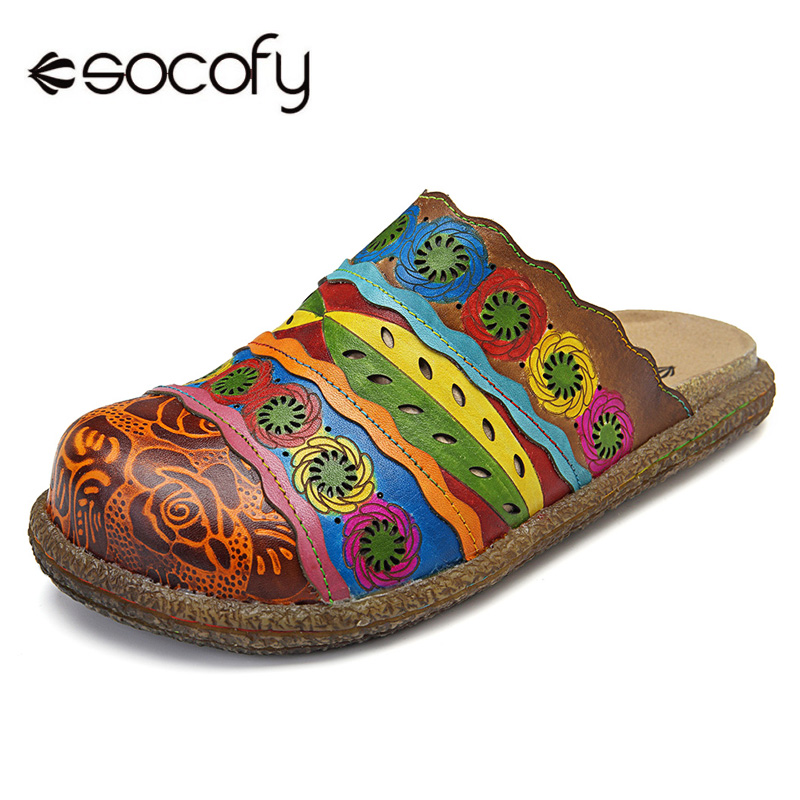Socofy Vintage Printed Round Toe Slippers Women Shoes Genuine Leather Summer Bohemian Beach Slippers Slides Casual Shoes Woman feather printed round beach throw