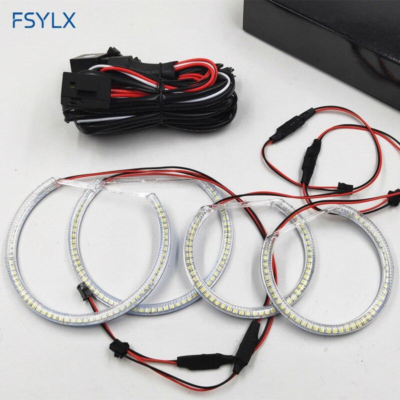 FSYLX SMD LED yeux d'ange pour BMW E46 Compact E83 X3 yeux d'ange de voiture LED yeux d'ange de voiture phare DRL feux de jour anneaux