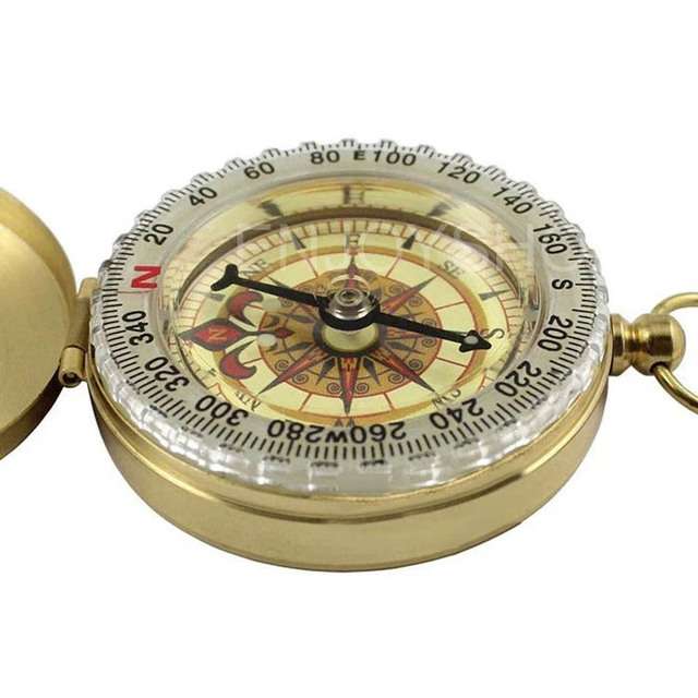 Brass Compass–Glow-In-The-Dark Display