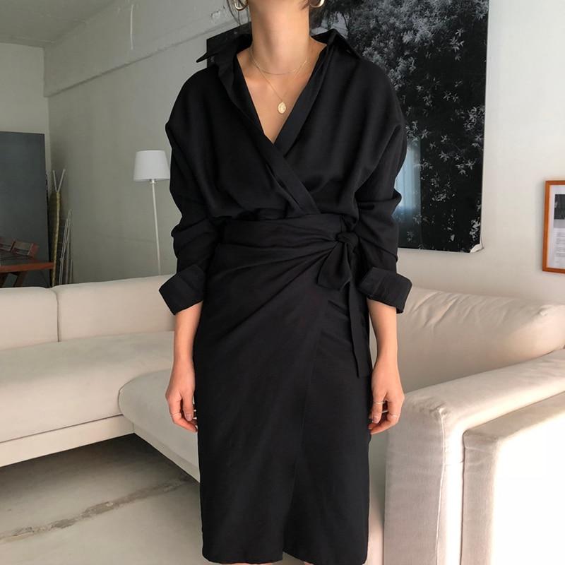 CHICEVER Bow Bandage Dresses For Women V Neck Long Sleeve High Waist Women's Dress Female Elegant Fashion Clothing New 19 10