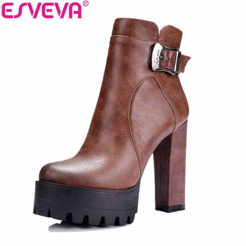 ESVEVA 2020 Western Brown klamra buty damskie okrągłe Toe buty wiosenne jesienne kwadratowe szpilki platformy seksowne botki za kostkę rozmiar 34-42