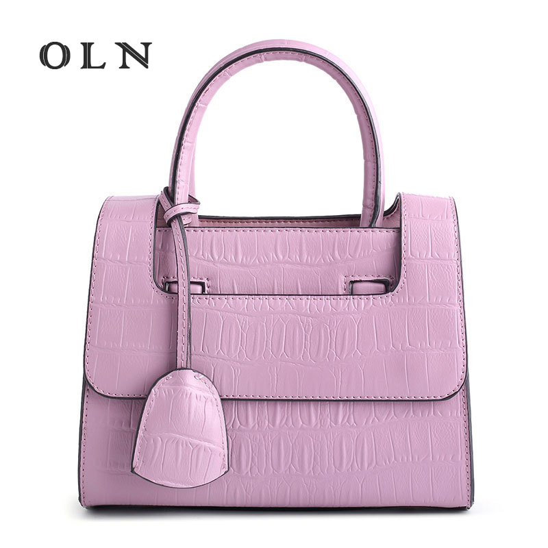 OLN Luxury Brand Fashion Genuine Leather Women Handbag Cowhide Shoulder Bag Crocodile Pattern Brand Portable Bag Casual Tote women crocodile pattern handbag fashion casual tote large shoulder bags ladies brand genuine leather shopping bag gift hand bag