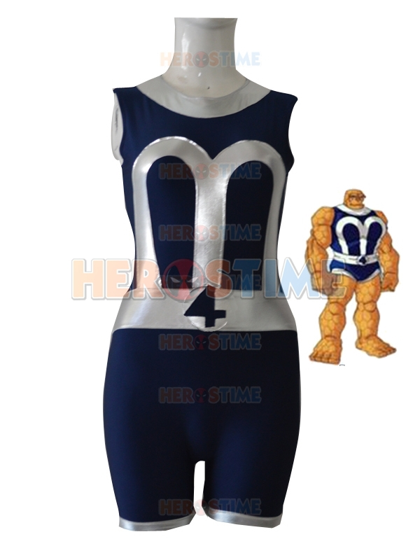 Fantastic Four costume Navy Blue & Sliver Fantastic Four Ben Grimm Superhero Jumpsuit