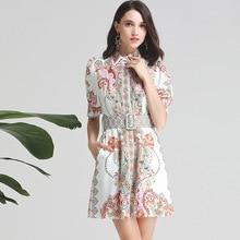 High quality diamonds womens Shirt dress New 2019 summer runways fashion print beading belt A290