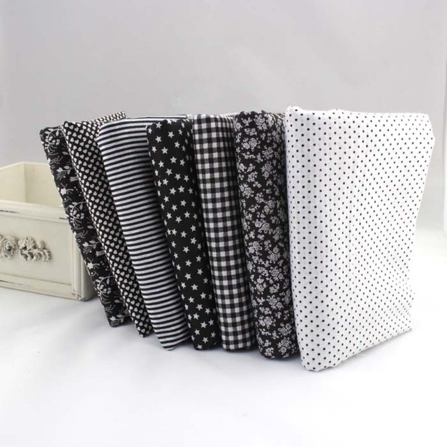 New 7 Pcs 50 50cm Black 100 Cotton Quilting Fabric For Diy Sewing
