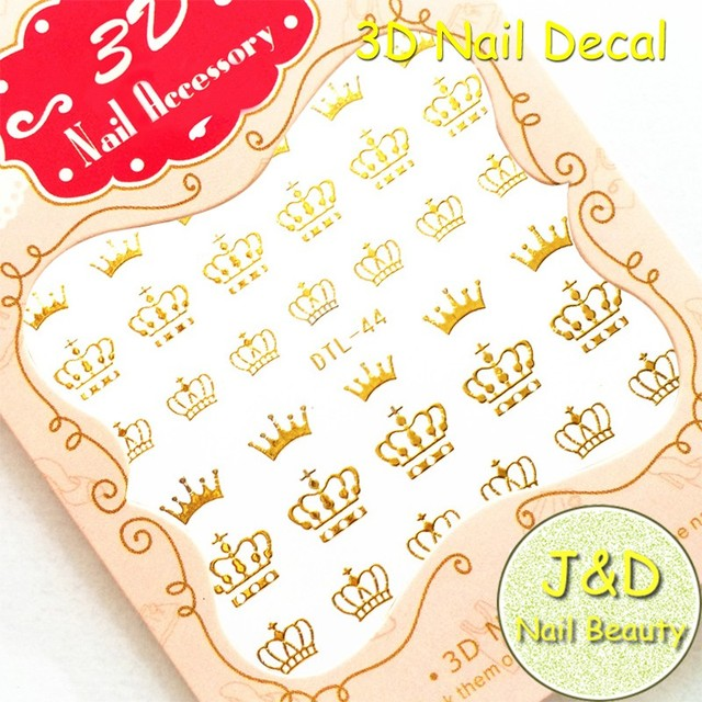 Foreverjasmine 24pcs 3d Logo Nail Art Sticker Gold Crown Nail Decal