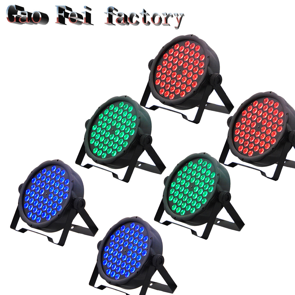 6pcs/lot 54pcs*3W RGB Colorful 3IN1 8 DMX Channel Tricolor Flat Led Par Light