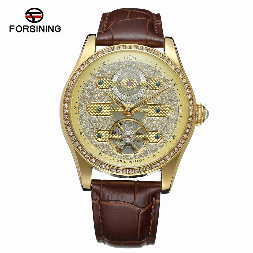 Forsining 2017 Design Genuine Leather Diamond Display Blue Hands Tourbillion Waterproof Mens Automatic Watches Top Brand Luxury