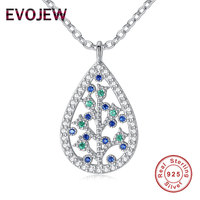 EVOJEW Luxury 100 925 Sterling Silver Family Tree Of Life Pendant Necklace Shining AAA Cubic Zirconia
