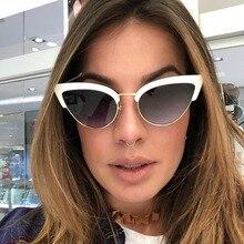 Fashion Cat Eye Semi-Rimless Sunglasses For Women Personality Eyewear High Quality Female Glasses Hot Sale Gradient oculos de so chic semi rimless frame cat eye sunglasses for women