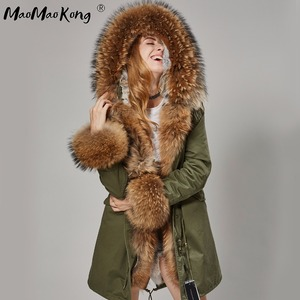 Image 4 - Fashion Women Parkas Rabbit Fur Lining Hooded Long  Coat Outwear Army Green Large Raccoon Fur Collar Winter Warm Jacket DHL