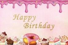 Laeacco Cartoon Cream Donut Cake Baby Birthday Party Photography Background Customized Photographic Backdrop For Photo Studio