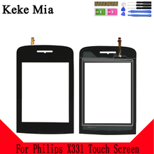 Keke Mia 2.8 inch For Philips X331 Touch Screen Glass Digitizer Panel Touch Screen Front Glass Lens Sensor Free Adhesive + Wipes цена