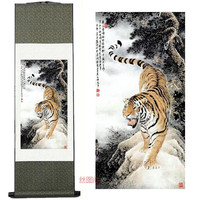 Home Decor Silk Ink Traditional Chinese Painting Tiger Down The Mountain Tiger Apotropaic Decorative Painting Scroll