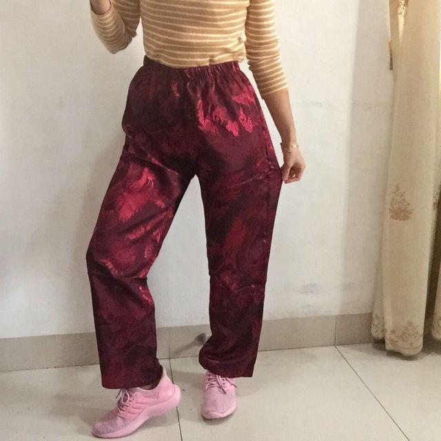 c72c9b32e Korean Ulzzang Girl Elastic High Waist Dragon Embroidery Loose Straight  Full Pant Satin Silk Hiphop Trouser