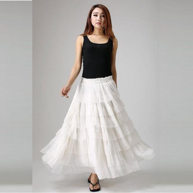 Aliexpress.com : Buy Beautiful Skirt Long Skirt Womens White Mesh ...