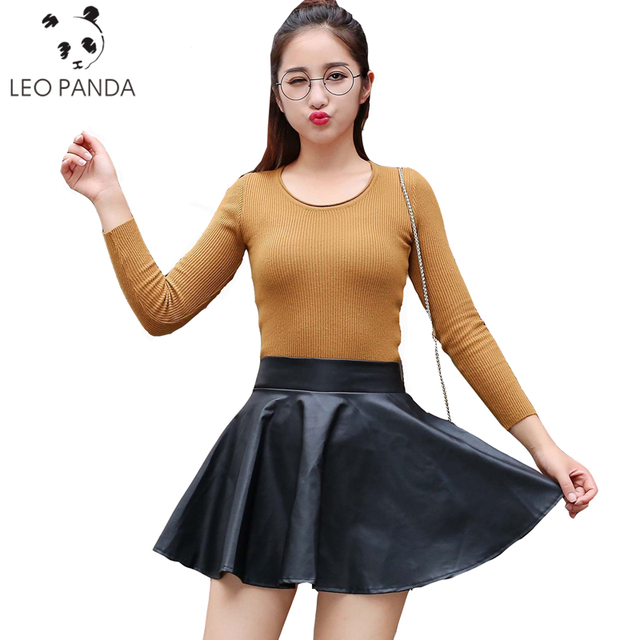 616079b5396a (Buy Two Get One Free!) 2018 New Fashion Women Faux Leather Skirt High  Waist Skater Flare Mini Skirt Flared Pleated Short SUN127