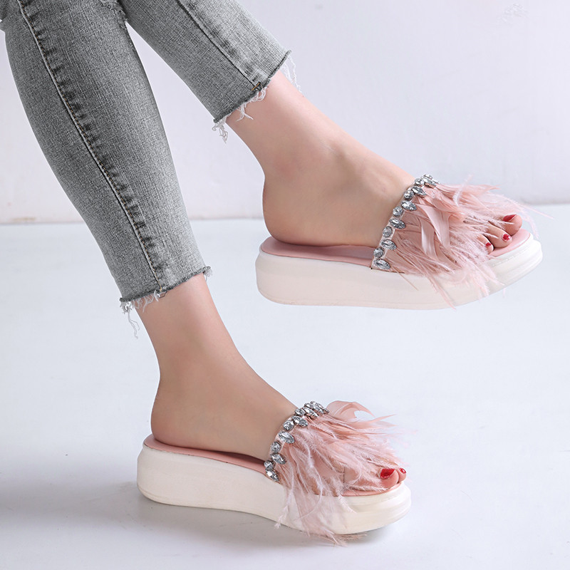 YMECHIC Ladies Feather Rhinestone Platform Summer Party Shoes Wedge Heels  Women Slides Black Pink Slipper Plus Size Sandals 2018 a7ed39f91c49