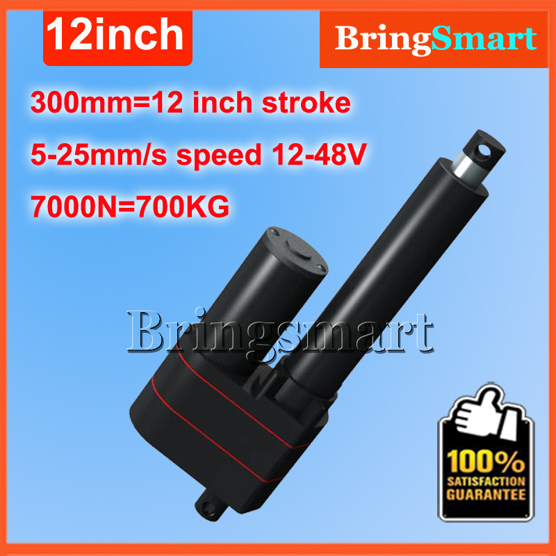 Wholesale 12V Linear Actuator 300mm 12inch stroke 7000N 700KG Load Waterproof 36v Tubular Motor 48v Mini Electric Actuator 24v wholesale 12v linear actuator 150mm 6 inch stroke 7000n 700kg load waterproof 36v tubular motor 48v mini electric actuator 24v