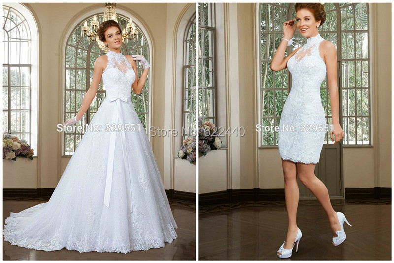 Two Pieces Wedding Dresses Ball Gown Detachable Skirt