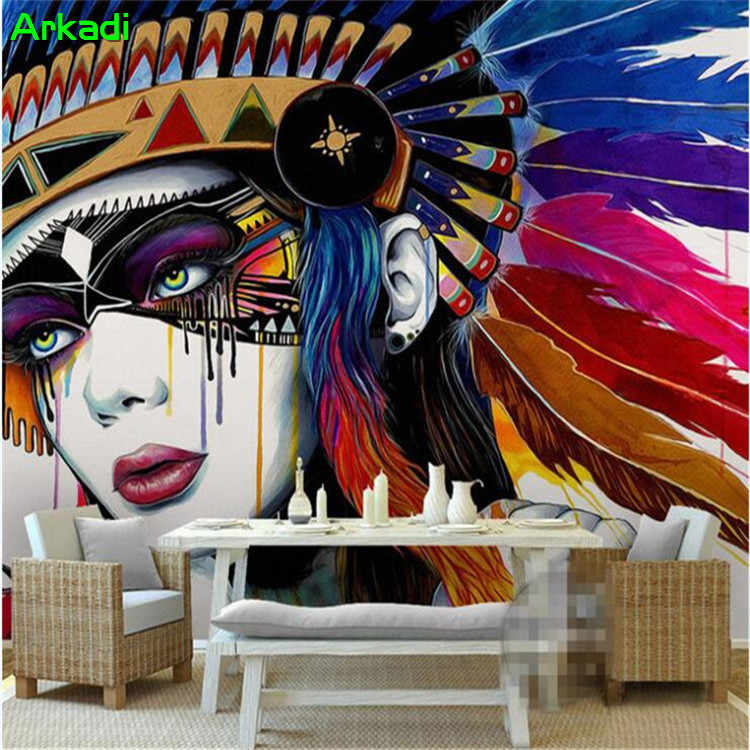 Eropa Gaya India Bertopeng Abstrak Lukisan Minyak Dinding Dicat 3D Abstrak Foto Wallpaper Latar Belakang TV Lukisan Dinding Wallpaper