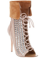 Hottest Lace Up Crystal Thin Heel Shoes Woman Name Brand Celebrity Suede Peep Toe Short Boots