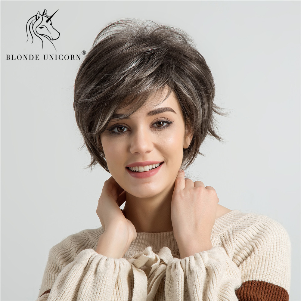 Blonde Unicorn 6 Inch Light Brown Highlights Synthetic Wigs For Black/White Women Fluffy Natural Wave African American Short Wig