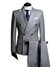 Double-Breasted Side Vent Light Grey Groom Tuxedos Peak Lapel Groomsmen Mens Wedding Tuxedos Prom Suits ( jacket+Pants+tie)(China)
