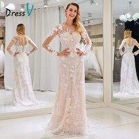 Dressv Custom Wedding Dress Scoop Neck Sweep Train Floor Length Long Sleeve Back Zipper Elegant Sheath Lace Custom Wedding Dress
