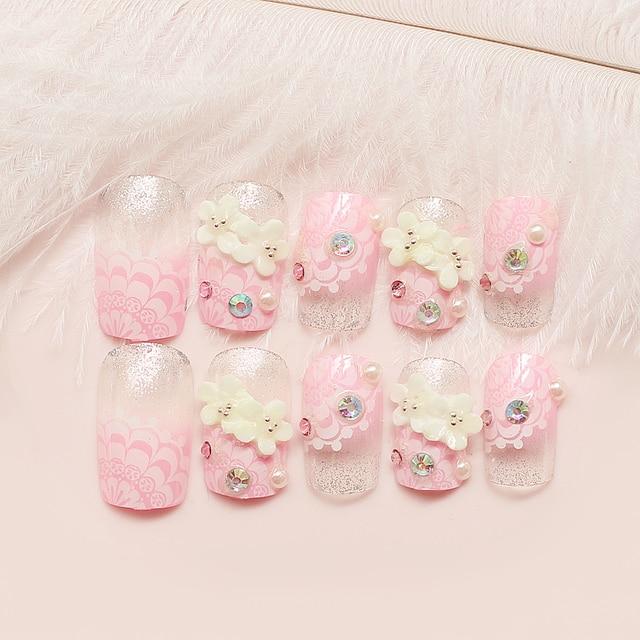 Pink flower Japanese false nails set Bride Cute fake nails Acrylic ...