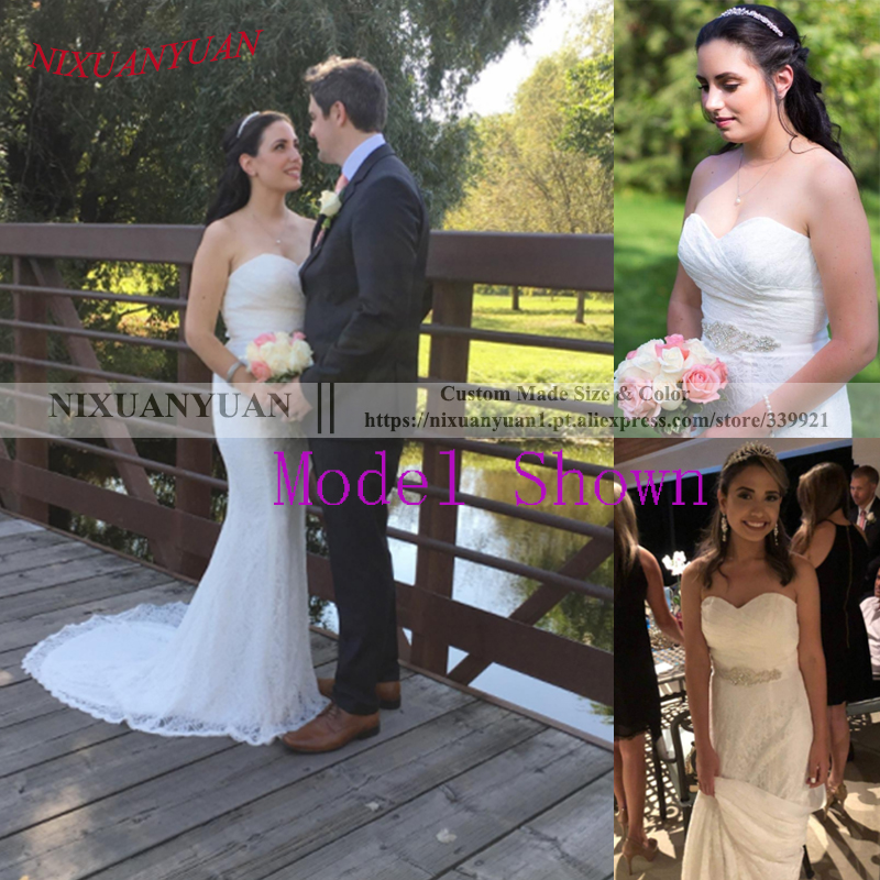 NIXUANYUAN 2019 Hot Vanzare Elegant Sweetheart Ivory White Lace - Rochii de mireasa - Fotografie 5