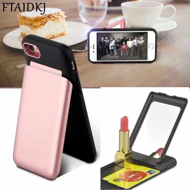 FTAIDKJ יוקרה מקרה קשה חריץ תעודת זהות מחזיק כרטיס אשראי נסתר עם מראה עבור iPhone X 10 6 6 S 7 8 פלוס 7 8 דוכן איפור כיסוי