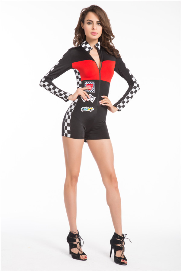 ad340e0e2f3 Miss Racer Racing Driver Costume Super Car Grid Girl Fancy Dress Outfit  sexy costume plus size