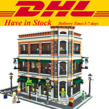 2016 New LEPIN 15017 4616Pcs Creator Starbucks Bookstore Cafe Model Building Kits Minifigure Blocks Bricks Compatible Toys Gift
