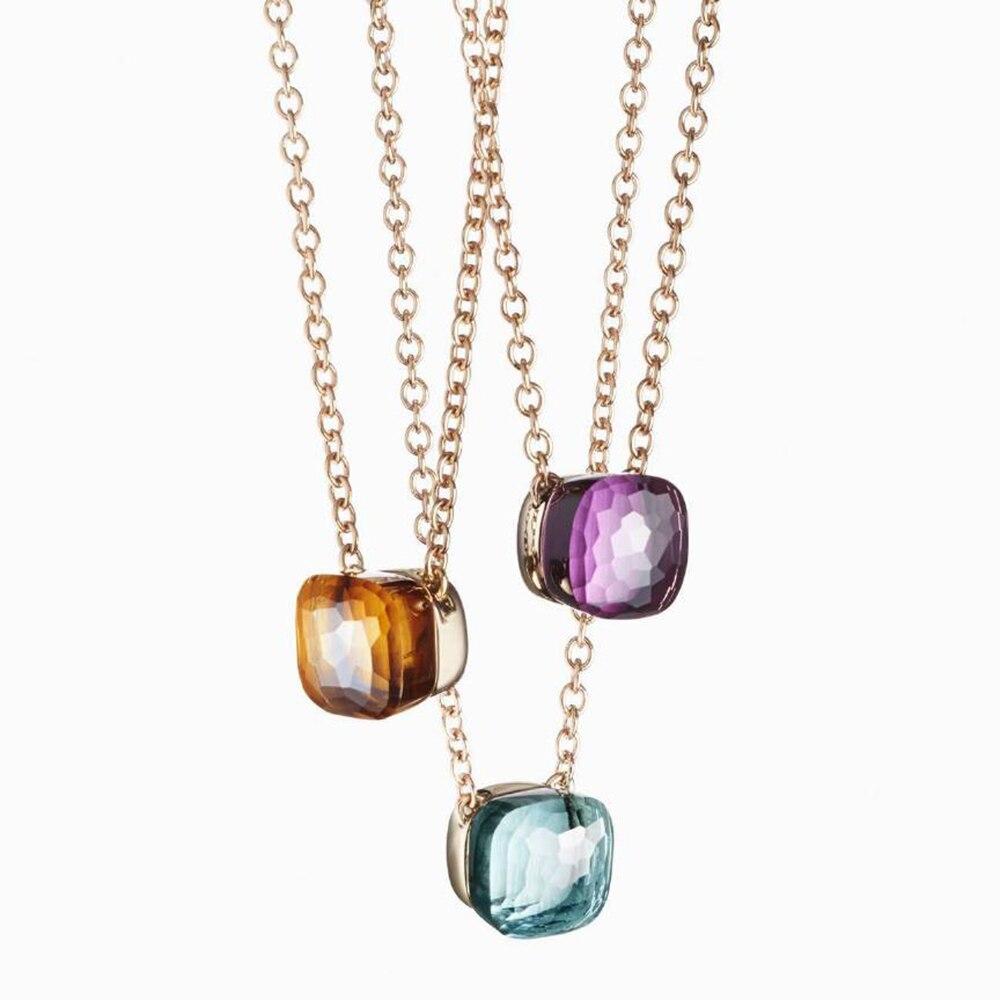 2019 Designer Beliebteste Marke Candy Farbe Pedant Halskette Für Frauen Luxus Rose Gold 585 Silber Schmuck Mischen Sie Ihre Eigenen stil