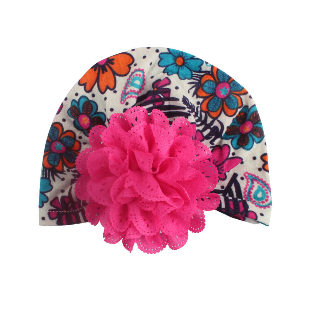 Cute Newborn Baby Girl Toddler Floral Print Knotted Turban Skull Cap Beanie Hat