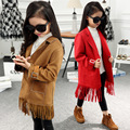 NEW gilrs clothing Leather tassels jacket coat for girls long autumn winter jeans tops outwear kids children's outwear 3-12Y